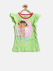 Dora by Kids Ville Girls Lime Green Printed Top