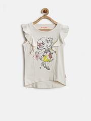 Dora by Kids Ville Girls Off-White Printed Top