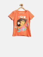 Dora by Kids Ville Girls Orange Printed Top