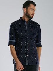 Tommy Hilfiger Navy Printed Slim Fit Casual Shirt