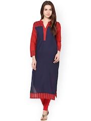 Sringam Blue & Red Printed Kurta