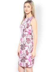 Avirate White & Pink Floral Print Sheath Dress
