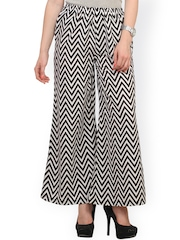 Cottinfab Black & White Printed Palazzo Trousers