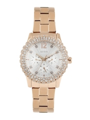 GUESS Women Silver-Toned Dial Embellished Watch W0335L3