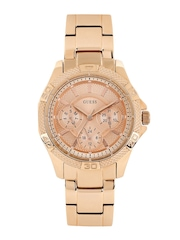 GUESS Women Rose Gold-Toned Dial Watch W0235L3