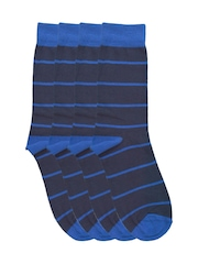 Tossido Men Set of 4 Navy Striped Socks