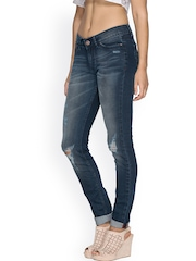 TARAMA Navy Washed Super Skinny Jeans