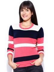 Manola Pink & Dark Navy Striped Top