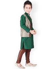 K&U Green & Brown Kurta Pyjama with Waistcoat