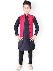 K&U Navy & Black Kurta Pyjama with Waistcoat