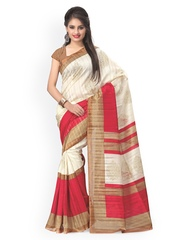 Vaamsi White Tussar Printed Saree