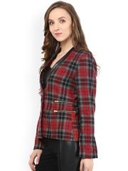 The Vanca Red & Grey Checked Woollen Tweed Slim Fit Coat