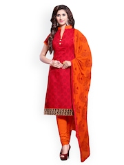 Saree mall Red & Orange Printed Chanderi Unstitched Dress Material