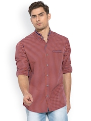 Mufti Red & Navy Checked Casual Shirt
