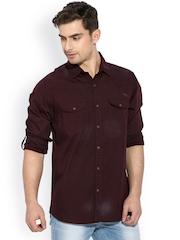 Mufti Maroon Casual Shirt