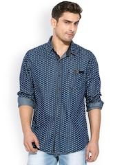 Mufti Blue Printed Casual Shirt