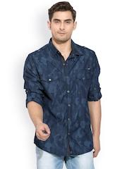 Mufti Navy Printed Casual Shirt