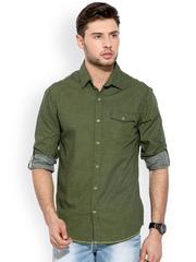 Mufti Green Printed Casual Shirt