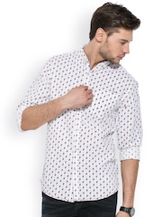 Mufti Off White Printed Casual Shirt