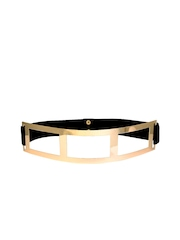 20Dresses Women Black & Gold-Toned Baring It All Stretchable Broad Belt