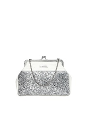 3 Mad Chicks Silver Toned & Off-White Clutch