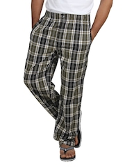 Chromozome Men Navy Black & Brown Checked Lounge Pants