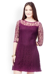499 Purple Lace A-line Dress