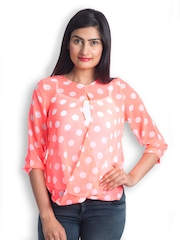499 Women Orange & White Polka Dotted Sheer Top