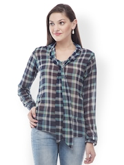 499 Women Blue Checked Sheer Top