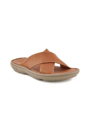 Clarks Men Villa Sun Mahogany Leather Brown Sandals