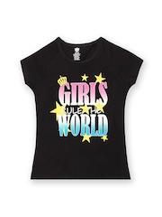 612 Ivy League Girls Black Printed T-shirt