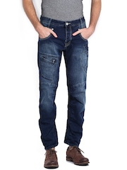 883 Police Men Blue Engineered Twisted Fit Jeans