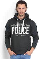 883 Police Men Charcoal Grey Printed Hooded Sweatshirt