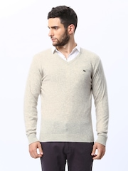 98 Degree North Men Cream Coloured Lambswool Blend Sweater