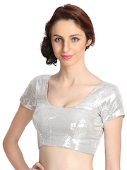 9rasa Silver Stitched Saree Blouse