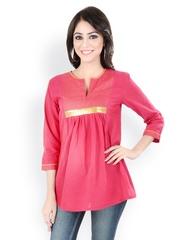9rasa Women Pink Printed Kurti