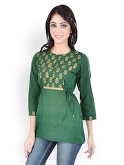 9rasa Women Green Printed Kurti