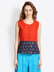 9rasa Women Orange & Navy Blue Printed Kurti