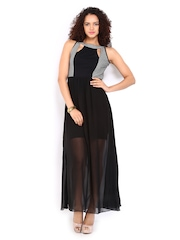 AND by Anita Dongre Black Embroidered Maxi Dress