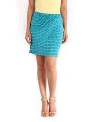 AND by Anita Dongre Green & Navy Printed Pencil Skirt