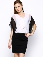 AND by Anita Dongre White & Black Blouson Dress