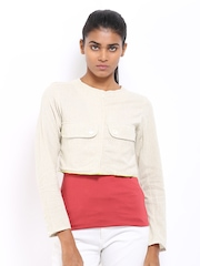 AND by Anita Dongre Women Beige Cropped Jacket