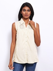 AND by Anita Dongre Women Beige Lace Top
