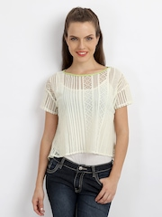 AND by Anita Dongre Women Cream Coloured Lace Crop Top