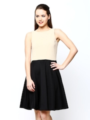 AND by Anita Dongre Beige & Black Fit & Flare Dress