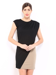 AND by Anita Dongre Black & Beige Sheath Dress