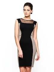 AND by Anita Dongre Black & Beige Bodycon Dress