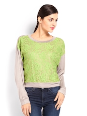 AND by Anita Dongre Women Green & Beige Lace Top