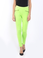 AND by Anita Dongre Women Lime Green Treggings