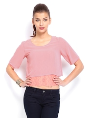 AND by Anita Dongre Women Pink Layered Lace Crop Top